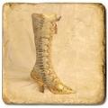 Marmorfliese, Motiv: Chaussures C,  Antikfinish,  Aufhängeöse, Antirutschfüßchen, Maße: L 20 x B 20 x H 1 cm