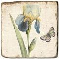 Marmorfliese, Motiv: Blüten/Schmetterlinge A,  Antikfinish,  Aufhängeöse, Antirutschf., Maße: L 20 x B 20 x H 1 cm