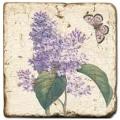 Marmorfliese, Motiv: Blüten/Schmetterlinge B,  Antikfinish,  Aufhängeöse, Antirutschf., Maße: L 20 x B 20 x H 1 cm