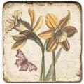 Marmorfliese, Motiv: Blüten/Schmetterlinge C,  Antikfinish,  Aufhängeöse, Antirutschf., Maße: L 20 x B 20 x H 1 cm