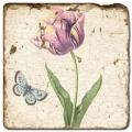 Marmorfliese, Motiv: Blüten/Schmetterlinge D,  Antikfinish,  Aufhängeöse, Antirutschf., Maße: L 20 x B 20 x H 1 cm