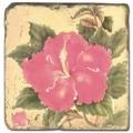 Marmorfliese, Motiv: Tropenblüten A,  Antikfinish,  Aufhängeöse, Antirutschfüßchen, Maße: L 20 x B 20 x H 1 cm