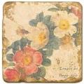 Carrelage en marbre, motif couronne de fleurs A, finition antique, illet pour l'accroche, pieds antidérapants, L 20 xl 20 x h 1 cm