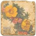 Carrelage en marbre, motif couronne de fleurs B, finition antique, illet pour l'accroche, pieds antidérapants, L 20 xl 20 x h 1 cm