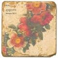 Carrelage en marbre, motif couronne de fleurs C, finition antique, illet pour l'accroche, pieds antidérapants, L 20 xl 20 x h 1 cm