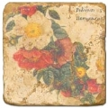 Carrelage en marbre, motif couronne de fleurs D, finition antique, illet pour l'accroche, pieds antidérapants, L 20 xl 20 x h 1 cm