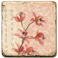 Marble Tile, Theme: Blooming Branches A, antique finish, hanger, anti slip nubs, Dim.: l 20 x w 20 x h 1 cm