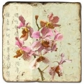 Marble Tile, Theme: Blooming Branches D, antique finish, hanger, anti slip nubs, Dim.: l 20 x w 20 x h 1 cm