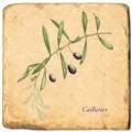 Carrelage en marbre, motif branche d'olivier A, finition antique, illet pour l'accroche, pieds antidérapants, L 20 xl 20 x h 1 cm