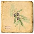 Carrelage en marbre, motif branche d'olivier C, finition antique, illet pour l'accroche, pieds antidérapants, L 20 xl 20 x h 1 cm