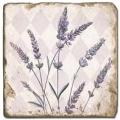 Marmorfliese, Motiv: Lavendel A,  Antikfinish,  Aufhängeöse, Antirutschfüßchen, Maße: L 20 x B 20 x H 1 cm