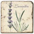 Marmorfliese, Motiv: Lavendel B,  Antikfinish,  Aufhängeöse, Antirutschfüßchen, Maße: L 20 x B 20 x H 1 cm