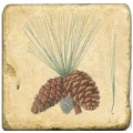 Marmorfliese, Motiv: Zapfen A,  Antikfinish,  Aufhängeöse, Antirutschfüßchen, Maße: L 20 x B 20 x H 1 cm