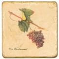 Marmorfliese, Motiv: Trauben 2 B,  Antikfinish,  Aufhängeöse, Antirutschfüßchen, Maße: L 20 x B 20 x H 1 cm