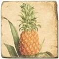 Marmorfliese, Motiv: Tropenfrüchte A,  Antikfinish,  Aufhängeöse, Antirutschfüßchen, Maße: L 20 x B 20 x H 1 cm