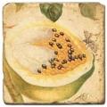 Marmorfliese, Motiv: Tropenfrüchte C,  Antikfinish,  Aufhängeöse, Antirutschfüßchen, Maße: L 20 x B 20 x H 1 cm