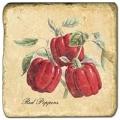 Marmorfliese, Motiv: Gemüse 1 C,  Antikfinish,  Aufhängeöse, Antirutschfüßchen, Maße: L 20 x B 20 x H 1 cm