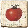 Marmorfliese, Motiv: Gemüse 2 B,  Antikfinish,  Aufhängeöse, Antirutschfüßchen, Maße: L 20 x B 20 x H 1 cm