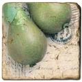Marmorfliese, Motiv: Obst A,  Antikfinish,  Aufhängeöse, Antirutschfüßchen, Maße: L 20 x B 20 x H 1 cm