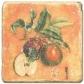 Marmorfliese, Motiv: Früchtemix A,  Antikfinish,  Aufhängeöse, Antirutschfüßchen, Maße: L 20 x B 20 x H 1 cm