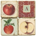Marble Coasters, set of 4, illustration theme with Monogram A, antique finish, cork backed, l 10 x w 10 x h 1 cm