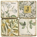 Marble Coasters, set of 4, illustration theme with Monogram J, antique finish, cork backed, l 10 x w 10 x h 1 cm
