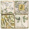 Sous-verres en marbre, 4 pièces, motif initiale J, finition antique avec dos en liège, L 10 xl 10 x h 1 cm