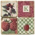 Sous-verres en marbre, 4 pièces, motif initiale K, finition antique avec dos en liège, L 10 xl 10 x h 1 cm