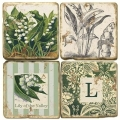 Marble Coasters, set of 4, illustration theme with Monogram L, antique finish, cork backed, l 10 x w 10 x h 1 cm