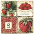 Marmor Untersetzer 4er Set, Motivserie mit Monogramm S, Antikfinish, Kork-Rückseite, Maße: L 10 x B 10 x H 1 cm