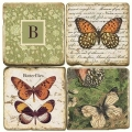 Marble Coasters, set of 4, illustration theme with Monogram B, antique finish, cork backed, l 10 x w 10 x h 1 cm