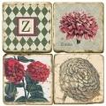 Marmor Untersetzer 4er Set, Motivserie mit Monogramm Z, Antikfinish, Kork-Rückseite, Maße: L 10 x B 10 x H 1 cm
