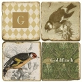 Marble Coasters, set of 4, illustration theme with Monogram G, antique finish, cork backed, l 10 x w 10 x h 1 cm