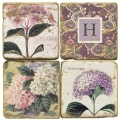 Marble Coasters, set of 4, illustration theme with Monogram H, antique finish, cork backed, l 10 x w 10 x h 1 cm