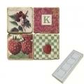 Memomagnete Set mit Monogramm K, Marmor, Antikfinish, 4 er Set in Box, Maße: L 5 x B 5 x H 1 cm