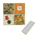 Memomagnete Set mit Monogramm N, Marmor, Antikfinish, 4 er Set in Box, Maße: L 5 x B 5 x H 1 cm