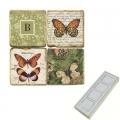 Memomagnete Set mit Monogramm B, Marmor, Antikfinish, 4 er Set in Box, Maße: L 5 x B 5 x H 1 cm