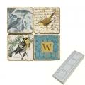 Memomagnete Set mit Monogramm W, Marmor, Antikfinish, 4 er Set in Box, Maße: L 5 x B 5 x H 1 cm