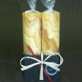 Bienenwachs Stumpenkerzen Duo, bernsteinfarbig marmoriert, 2 Stück pro Packung, Maße: H 15 x Ø 4 cm