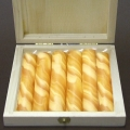 Beeswax Pillar Candles in Box, amber marbled, 6 pieces per Box, Dimensions: h 10 x Ø 2.5 cm