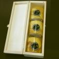 Bougies cylindriques en cire d'abeille, couleur ambre, marbrées, lot de 3 bougies dans un coffret, dimensions: h 6 x d 6 cm
