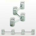 Lichterkette mit 4 Teelichthaltern, Chrom/Glas, Maße: L 47 cm, Teelichthalter: H 7,5 x 5 cm