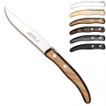 Laguiole Berlingot steak knives Gris-Marron, set of 6 in box, acrylic handles, colors: Naturel, Blanc, Cappuccino, Marron, Gris, Noir, Dimensions: l 23 cm