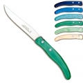 Laguiole Berlingot steak knives Bleu-Vert, set of 6 in box, acrylic handles, colors: Azur, Bleu, Violet, Rose, Layette, Naturel, Dimensions: l 23 cm
