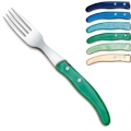 Laguiole Berlingot table forks Bleu-Vert, set of 6 in box, acrylic handles, colors: Azur, Bleu, Violet, Rose, Layette, Naturel, Dimensions: l 23 cm