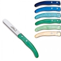 Laguiole Berlingot dessert knives Bleu-Vert, set of 6 in box, acrylic handles, colors: Azur, Bleu, Violet, Rose, Layette, Naturel, Dimensions: l 18 cm