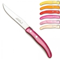 Laguiole Berlingot steak knives Rose-Orange, set of 6 in box, acrylic handles, colors: Jaune, Orange, Rouge, Rose, Layette, Naturel, Dimensions: l 23 cm