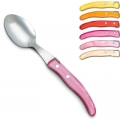 Laguiole Berlingot table spoons Rose-Orange, set of 6 in box, acrylic handles, colors: Jaune, Orange, Rouge, Rose, Layette, Naturel, Dimensions: l 23 cm