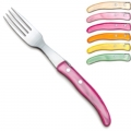 Laguiole Berlingot table forks Pastel, set of 6 in box, acrylic handles, colors: Naturel, Layette, Rose, Orange, Jaune, Vert pâle, Dimensions: l 23 cm