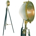 Tripod Lamp Cadillac Headlight, nickel, brass, glass, ebony coloured wooden tripod with polished aluminium fittings, Dimensions: h 180 cm x Ø 74 cm